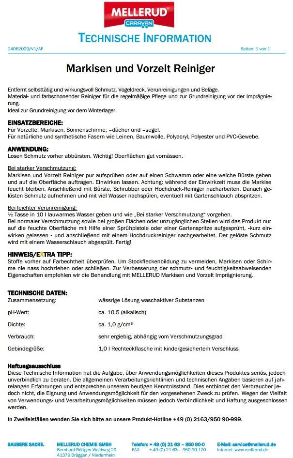 Mellerud Markisen Und Vorzeltreiniger 1l Von Mellerud